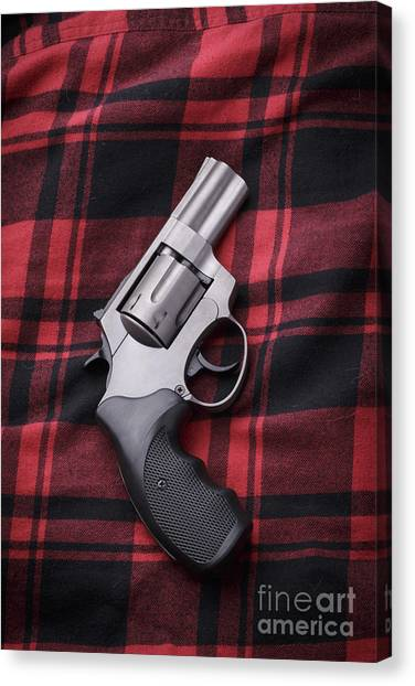 Flannel Canvas Print - Pistol On A Red Flannel Shirt by Edward Fielding