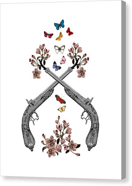 Media Canvas Print - Pistols Wit Flowers And Butterflies by Madame Memento