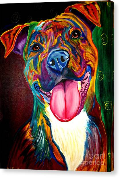 Pit Bull Canvas Print - Pit Bull - Olive by Alicia VanNoy Call