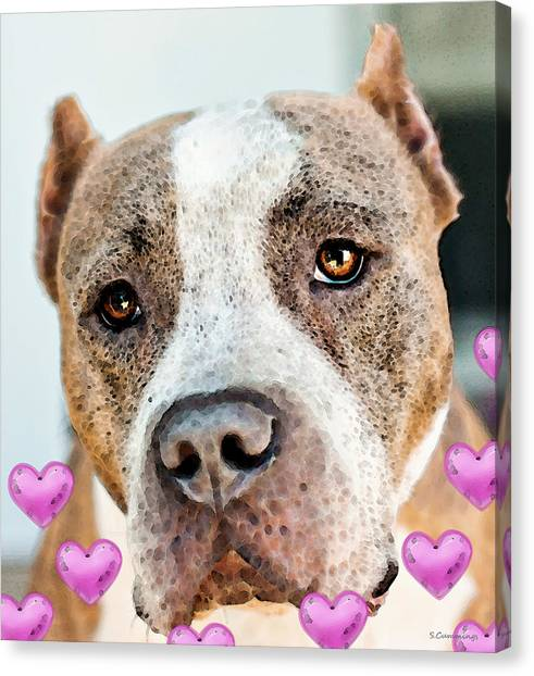Pit Bull Canvas Print - Pit Bull Dog - Pure Love by Sharon Cummings