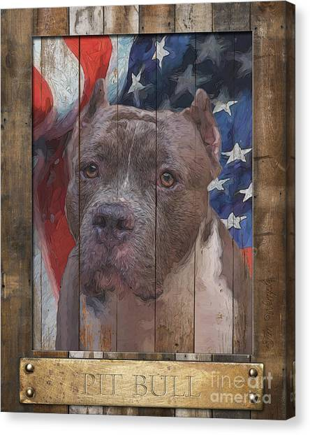 Pit Bull Flag Poster Canvas Print by Tim Wemple