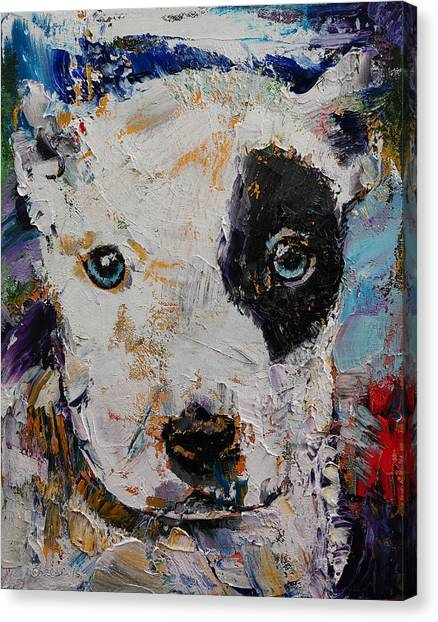 Pit Bull Canvas Print - Pit Bull Puppy by Michael Creese