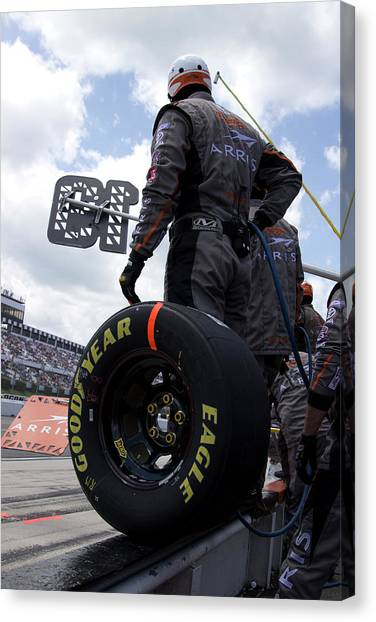Joe Gibbs Canvas Print - Pit Crew On The Wall by Mark A Brown