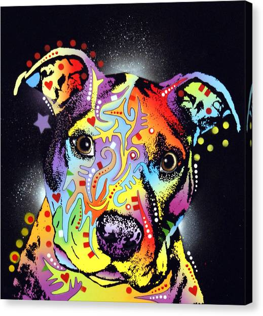 Pit Bull Canvas Print - Pitastic by Dean Russo Art