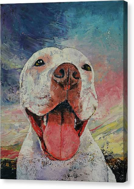 Pitbulls Canvas Print - Pitbull by Michael Creese