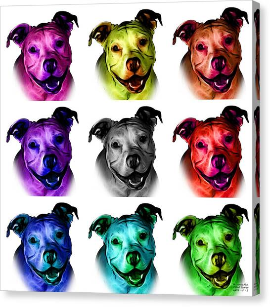 Pitbull Terrier - F - S - Wb - Mosaic Canvas Print