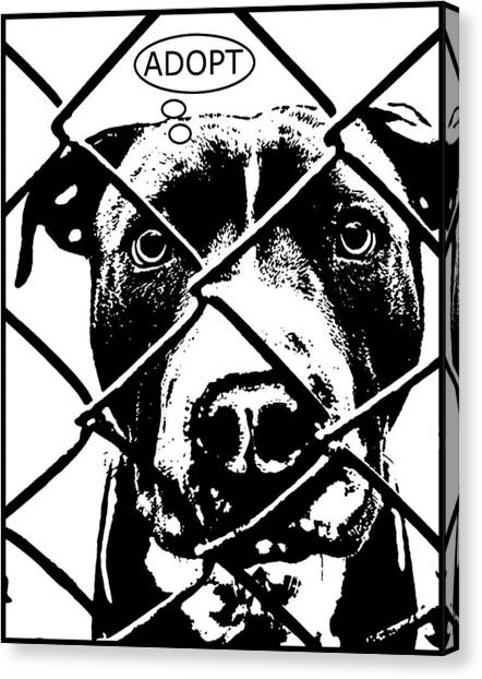 Pit Bull Canvas Print - Pitbull Thinks Adopt by Dean Russo Art