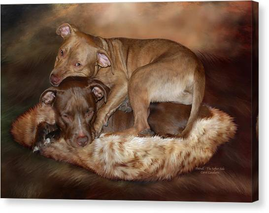 Pitbulls Canvas Print - Pitbulls - The Softer Side by Carol Cavalaris