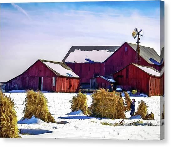 Pitchin Hay Canvas Print by Robert Gardner