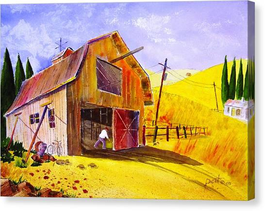 Pitching Hay Canvas Print by Buster Dight
