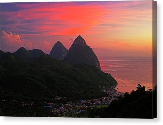 Pitons At Sunset- St Lucia Canvas Print