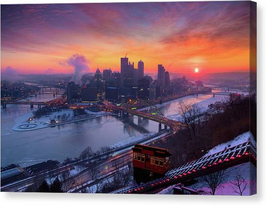 Roberto Clemente Canvas Print - Cold Sunrise In Pittsburgh  by Emmanuel Panagiotakis