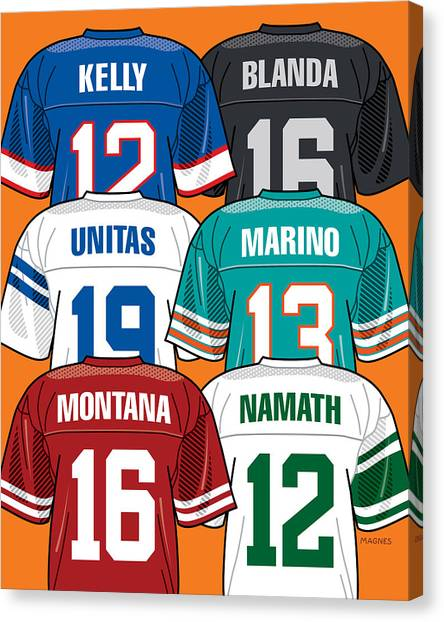 Dan Marino Canvas Print - Pittsburgh Area Quarterbacks by Ron Magnes