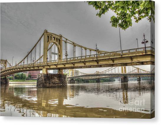 Roberto Clemente Canvas Print - Pittsburgh Bridges by David Bearden