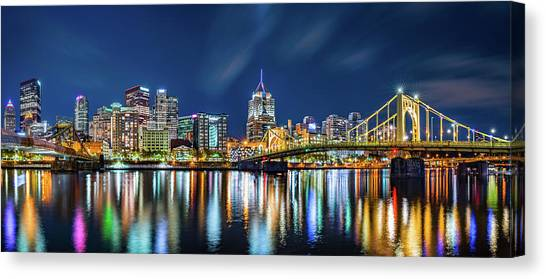 Roberto Clemente Canvas Print - Pittsburgh By Night by Mihai Andritoiu