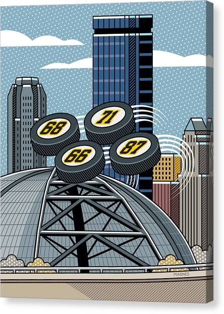 Hockey Players Canvas Print - Pittsburgh Civic Arena by Ron Magnes