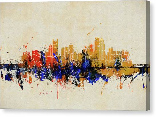 Pittsburgh Penguins Canvas Print - Pittsburgh Colorful Skyline  by Dan Sproul