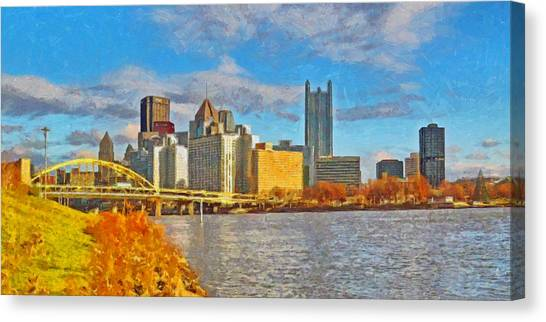 Canvas Print featuring the digital art Pittsburgh From The Shore Of The Ohio River by Digital Photographic Arts