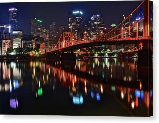 Roberto Clemente Canvas Print - Pittsburgh Lights by Frozen in Time Fine Art Photography