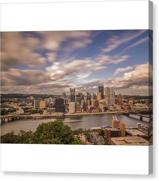 Skyscrapers Canvas Print - Pittsburgh Long Exposure Skyline. The by David Haskett II