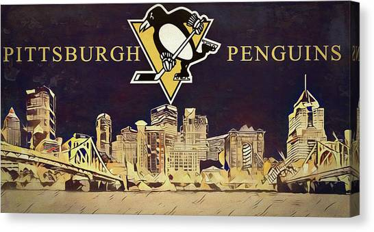 Pittsburgh Penguins Canvas Print - Pittsburgh Penguins Skyline Canvas by Dan Sproul
