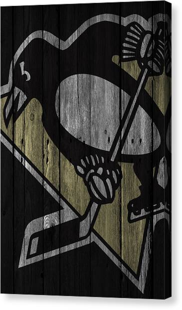Pittsburgh Penguins Canvas Print - Pittsburgh Penguins Wood Fence by Joe Hamilton