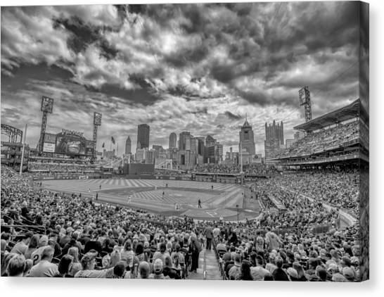 Pittsburgh Pirates Canvas Print - Pittsburgh Pirates Pnc Park Black And White 2 by David Haskett II