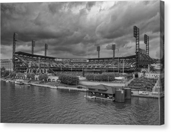Pittsburgh Pirates Canvas Print - Pittsburgh Pirates Pnc Park Bw A by David Haskett II