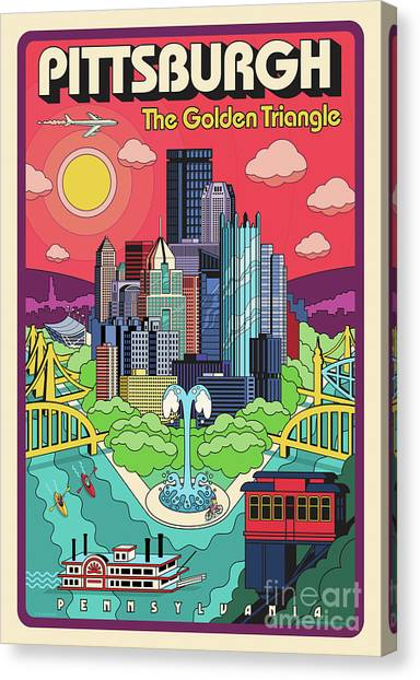 The Sky Canvas Print - Pittsburgh Poster - Pop Art - Travel by Jim Zahniser