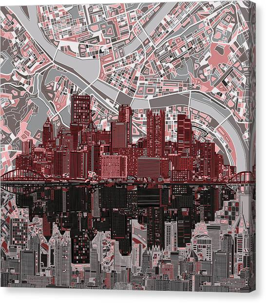 Abstract Digital Canvas Print - Pittsburgh Skyline Abstract 5 by Bekim Art