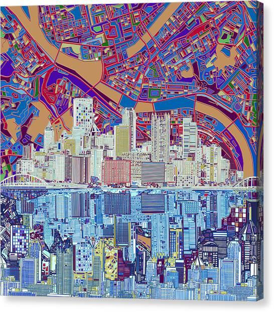 Pittsburgh Skyline Abstract 6 Canvas Print