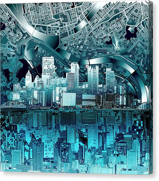 Abstract Digital Canvas Print - Pittsburgh Skyline Abstract Blue by Bekim Art