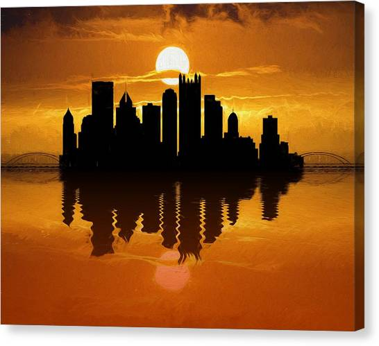 Pittsburgh Penguins Canvas Print - Pittsburgh Skyline Sunset Reflection by Dan Sproul