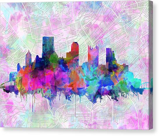 Abstract Digital Canvas Print - Pittsburgh Skyline Watercolor by Bekim Art