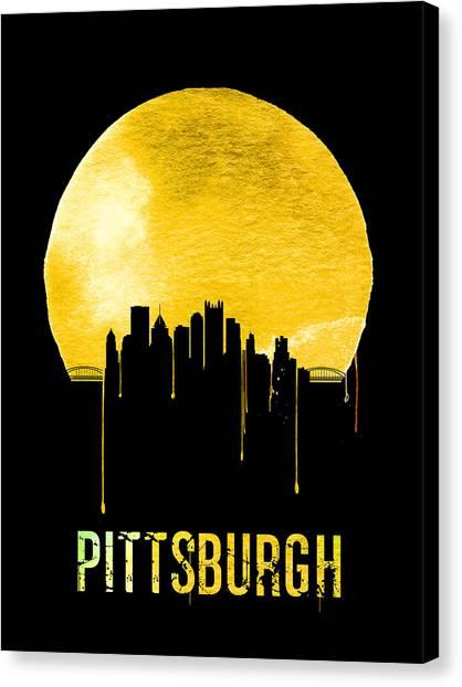 Pennsylvania Canvas Print - Pittsburgh Skyline Yellow by Naxart Studio