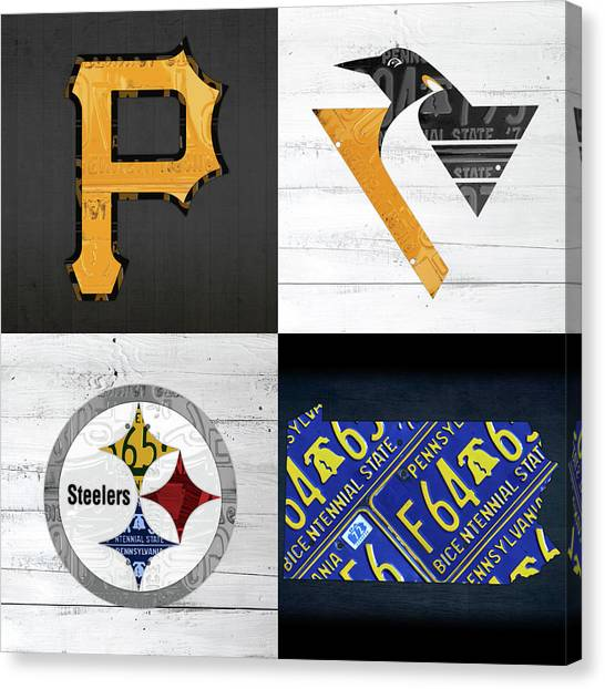 Pittsburgh Pirates Canvas Print - Pittsburgh Sports Team Logo Art Plus Pennsylvania Map Pirates Penguins Steelers by Design Turnpike
