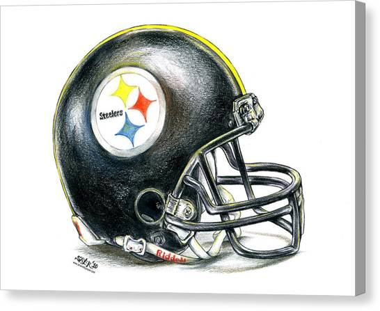 Pittsburgh Steelers Canvas Print - Pittsburgh Steelers Helmet by James Sayer