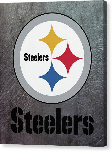 Pittsburgh Steelers On An Abraded Steel Texture Canvas Print