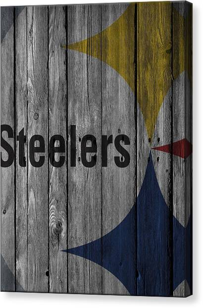 Pittsburgh Steelers Canvas Print - Pittsburgh Steelers Wood Fence by Joe Hamilton