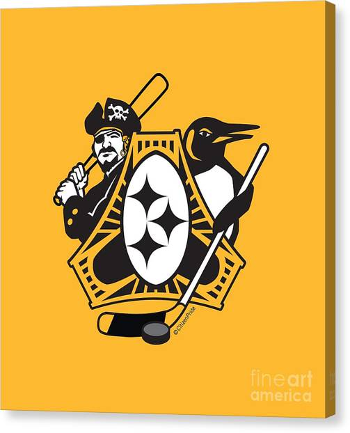 Pittsburgh Penguins Canvas Print - Pittsburgh-three Rivers Roar Sports Fan Crest by Joe Barsin
