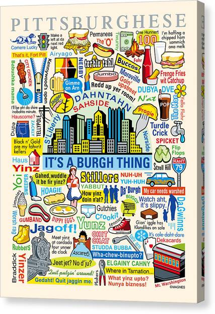 Pop Art Canvas Print - Pittsburghese by Ron Magnes