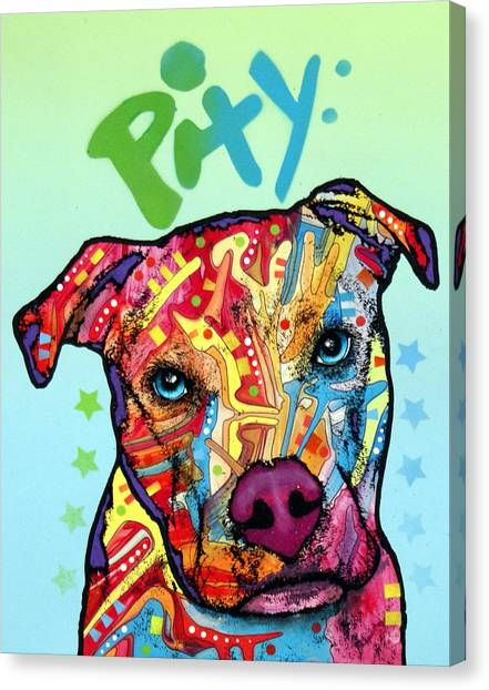 Pit Bull Canvas Print - Pity by Dean Russo Art