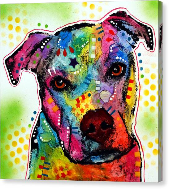 Pit Bull Canvas Print - Pity Pitbull by Dean Russo Art