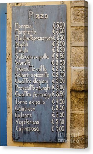 Pizza Canvas Print - Pizza Menu Florence Italy by Edward Fielding