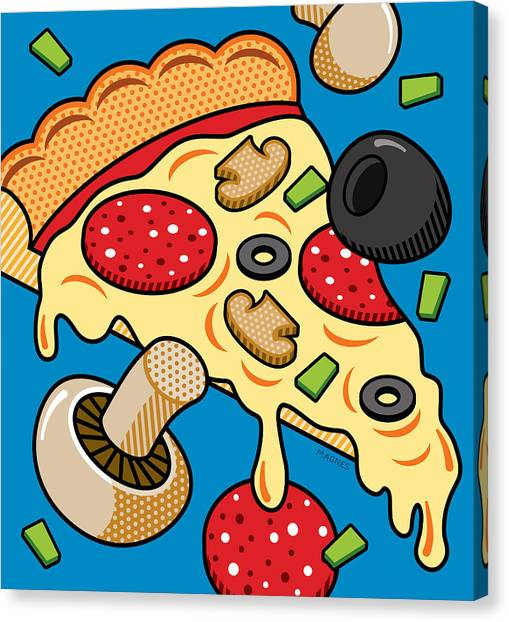 Junk Canvas Print - Pizza On Blue by Ron Magnes