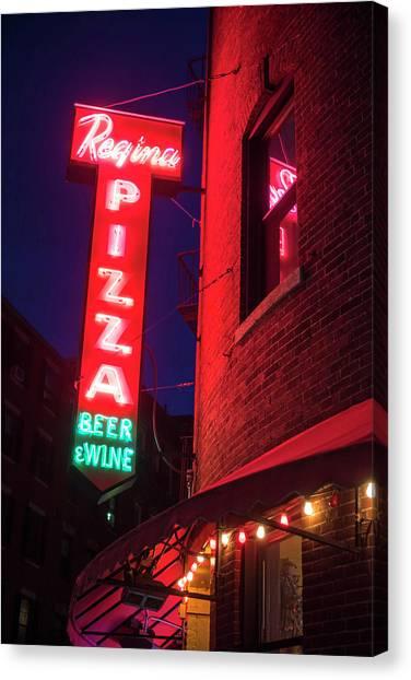 Pizzeria Regina Boston Ma North End Thacher Street Neon Sign Canvas Print