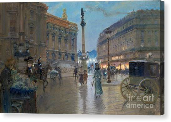 Carts Canvas Print - Place De L Opera In Paris by Georges Stein
