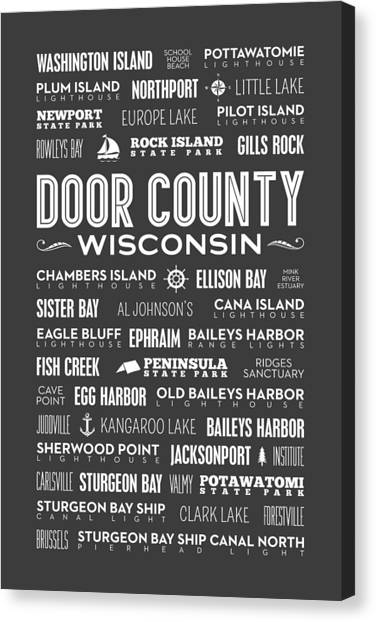 Places Of Door County On Gray Canvas Print
