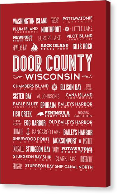 Places Of Door County On Red Canvas Print