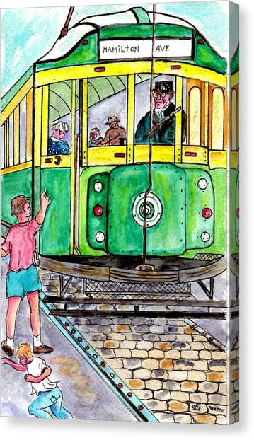 Placing Bottle Caps On The Trolley Tracks Canvas Print